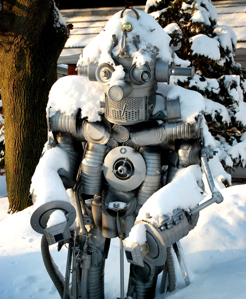 Robot in Chris Spollin's yard during last week's snow. photo © Chris Spollen