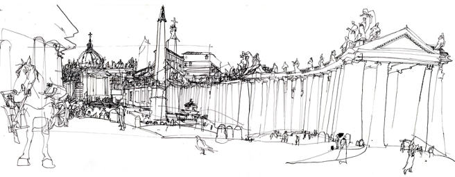 Panoramic drawing of St Peter's Square, Rome. © Veronica Lawlor