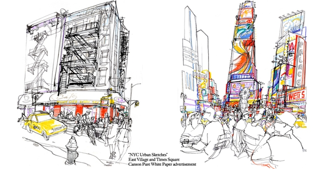 Times Square urban sketches for Canson Paper © Veronica Lawlor.