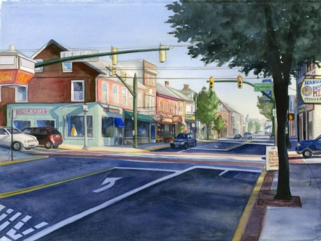 Main St, Kutztown, PA,  watercolor ©2015 Jamie Basile