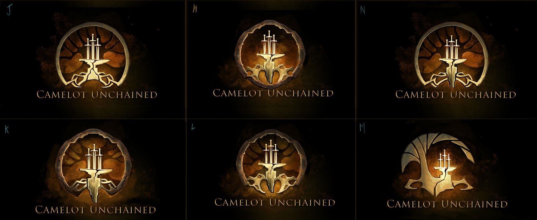 6 variations for Camelot Unchained logo © 2105 City State entertainment