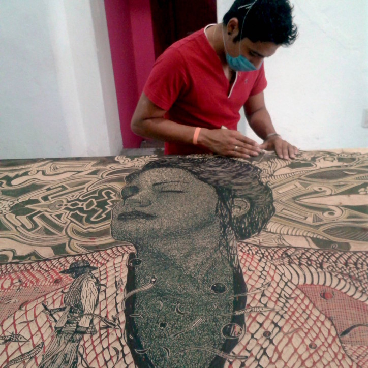Alan working on print above. Photo from oaxacaculturalnavigator.com