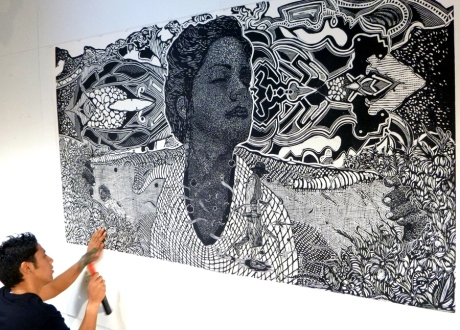 One of his grand-scale relief prints.