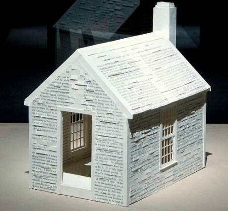 Henry David Thoreau Cabin 2012 by Alan Michelson. Handmade paper over balsa wood.
