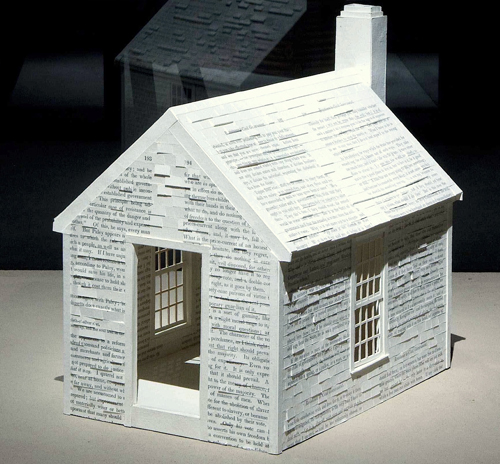 Henry David Thoreau Cabin 2012 by Alan Michelson. Handmade paper over balsa wood.