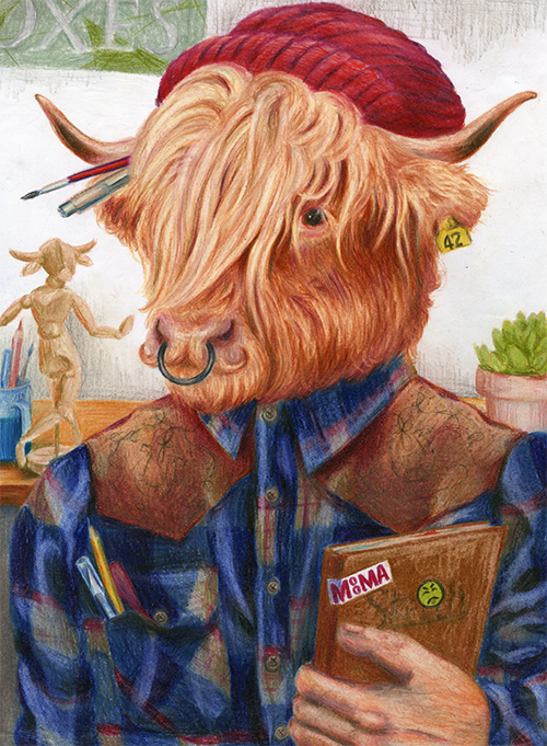 """Weston Sharadin, art student & Highland bull"" © Sierra Fry"